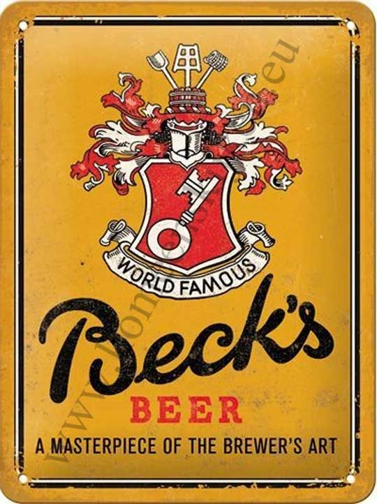metalen wandbord Beck's beer yellow 15x20 cm