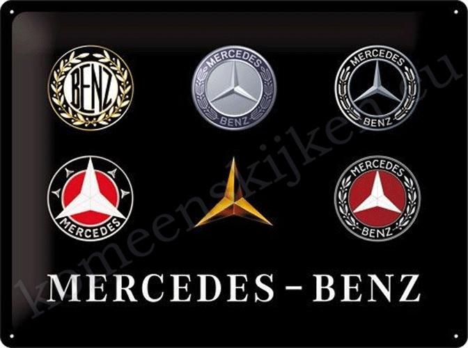 blikken reclamebord mercedes benz logo's evolution 30-40 cm