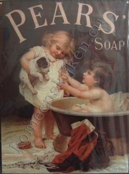 blikken wandplaat pears soap 30-40 cm