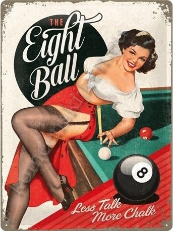 metalen reclamebord eight ball 30-40 cm..