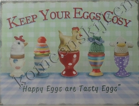 metalen wandbord keep your eggs cosy 30-40 cm