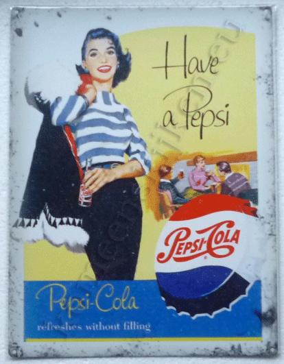 blikken wandplaat have a pepsi cola dame met jas 30-40 cm
