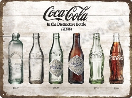 metalen wandplaat Coca Cola, distinctive bottles 30-40 cm