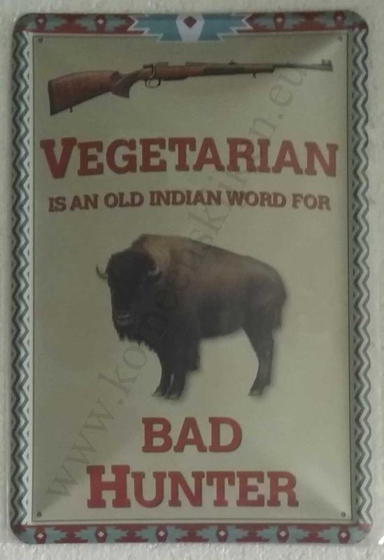 blikken wandbord vegetarian, bad hunter 20x30 cm