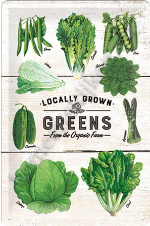 metalen wandbord greens / groente 20-30 cm