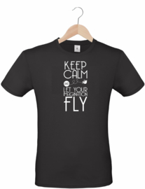 T-shirt - zwart - Keep Calm and let your imagination fly