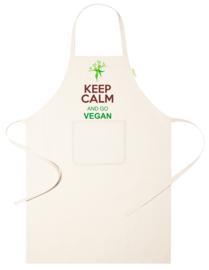 Keukenschort - Keep Calm go Vegan - voornaam