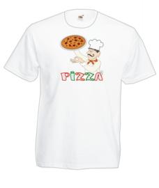 T-shirt -unisex wit - Pizza - maat L