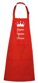 Luxe schort - keuken prinses met kroon - en voornaam