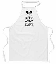 Keukenschort - Keep Calm Hug a Panda - wit