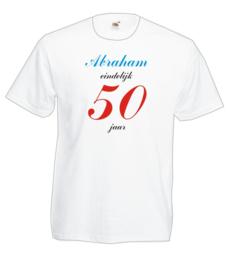 T-shirt - wit Abraham eindelijk 50 - maat L