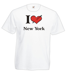 T-shirt - wit - maat L - I love New York