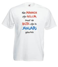 T-shirt - wit - Alle mannen maand Januari - maat XL