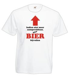 T-shirt - wit - BIER BIJVULLEN - maar XXL