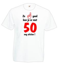 T-shirt - wit - zo goed met 50 jaar - maat M
