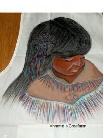 Indiaans meisje geschilderd op stof