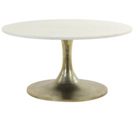 Salontafel Ø76x36 cm RICKERD wit marmer+antiek brons