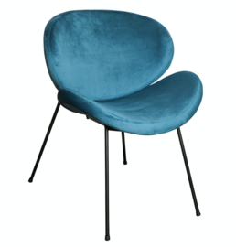 Janne velvet teal dining chair metal legs KD