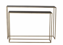 Side table S/2 100x25x70+120x25x80 cm BOCA m.zwart wash-goud