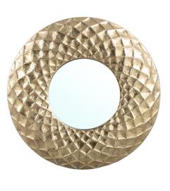 Brendon Gold metalen gedeukte spiegel rond-PTMD Collection