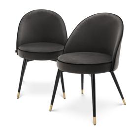 Eetkamerstoel Dark Grey Velvet Cooper | Set van 2 stoelen| Eichholtz