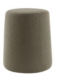Poef Ø39x45 cm LAURYN bouclé grijs bruin