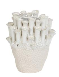 Vaas deco Ø27,5x27,5 cm KYRAL keramiek crème+wit