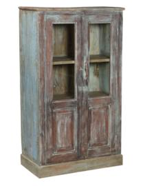Kast 82x38x130 cm hout + glas blauw 2drs