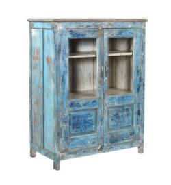 Kast 94x51x125 cm hout + glas blauw 2 drs
