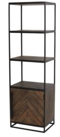 Kast half open 55x40x180 cm CHISA hout bruin-zwart