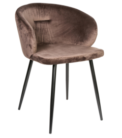 Move velvet brown chair half round metal legs -KD PTMD Collection
