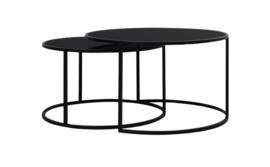 Salontafel S/2 Ø65x39+Ø75x44 cm DUARTE Glas zwart-mat zwart