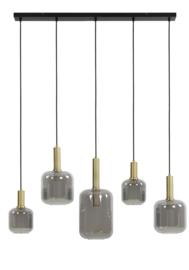 Hanglamp 5L 110x22x32 cm LEKAR antiek brons+smoke glas