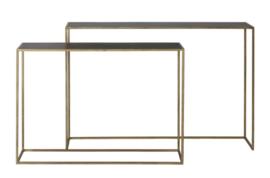 Side table S/2 100x25x70+120x25x80 cm BOCA m.zwart wash-goud