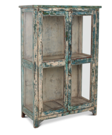 Kast hout blauw/groen 130x87x40