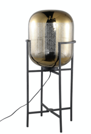 PTMD Snakey Goud vloerlamp glas op metalen voet M