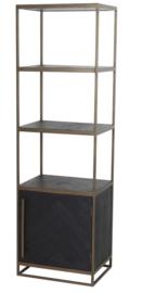Kast half open 55x40x180 cm CHISA hout zwart-ant brons