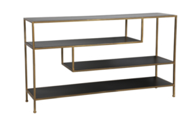 Side table 140x35x80 cm YLAYA mat zwart-goud