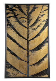 Loro Black gold palm leaf wall panel rectangle - PTMD Collection