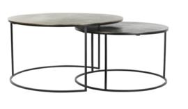 Salontafel S/2 Ø61x37+Ø76x41 cm PRIMO zwart-brons+mat