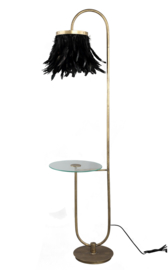 Destiny Black metal floorlamp feathers and table - PTMD