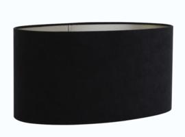 Kap ovaal recht smal 45-21-22 cm VELOURS zwart-taupe