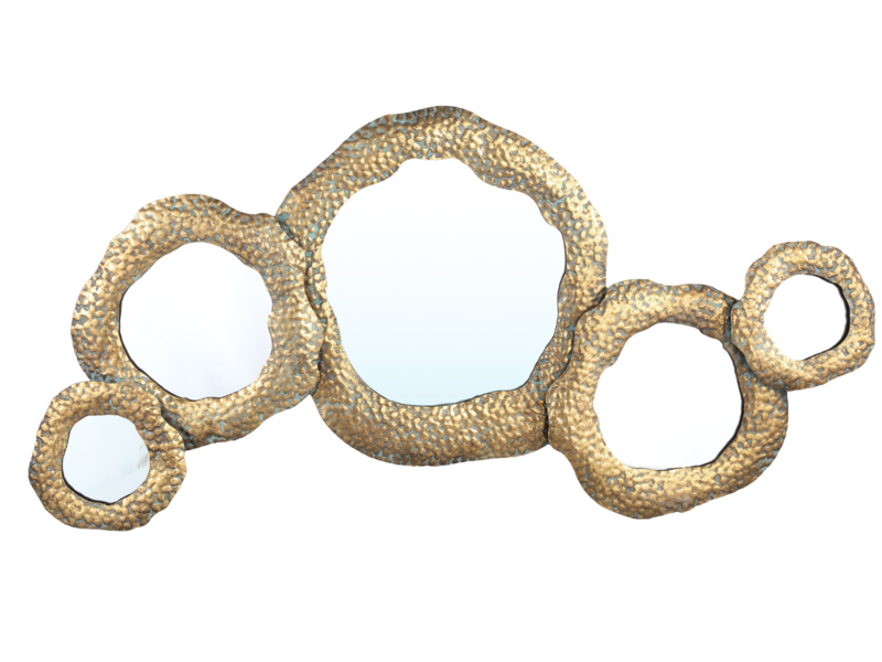 Zuri Gold metal multiple mirror coral pattern round-PTMD Collection