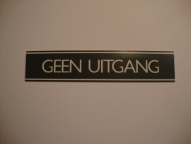 Kunststof bordje artnr.12065 GEEN UITGANG