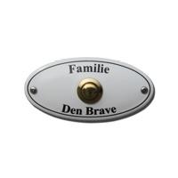 Emaille naambord met deurbel artnr.bp03