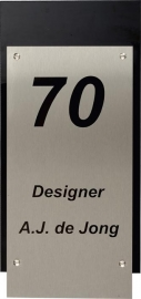 RVS Naamplaat met achtergrond art nr. 1205 (14x30)