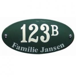 Emaille huisnummer met naam art nr. HNG-01 - HNG-03