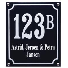 Emaille huisnummer met naam art nr. HNG-04 - HNG-09