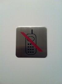 Geborsteld RVS Artnr.035 verbod telefoon vierkant