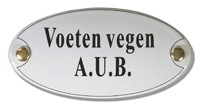 Emaille artnr. NS-1022 (10x5 cm) type  voeten vegen A.U.B